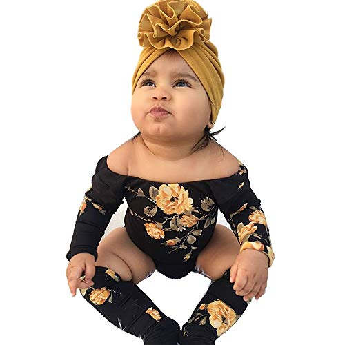 YOUNGER TREE 2PCS Newborn Baby Girl Off Shoulder Flower Romper+Leg Warmers Outfits Clothes (Flower Romper+Leg Warmers, 0-6 Months)