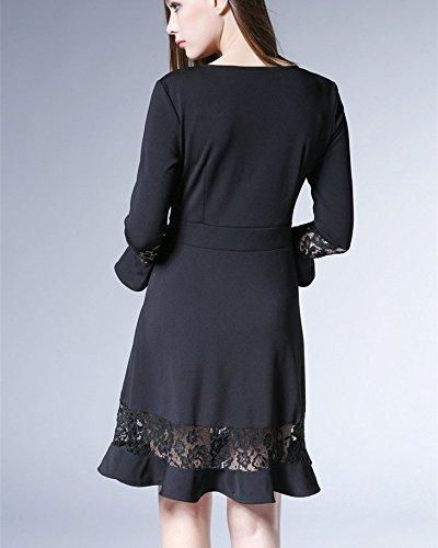 Slim Dress Bobbycool Ladies Sleeve Stitching Lace Fashion Ruffle Black CT6ZXqwpx