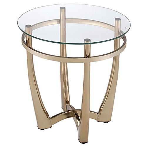 ACME Furniture 81612 Orlando II End Table, Champagne/Clear G
