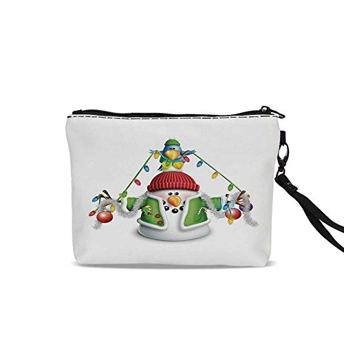Snowman Travel Cosmetic Bag,Cartoon Whimsical Character with Christmas Garland Blue Bird Various Xmas Elements Decorative For Women Girl,9
