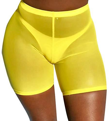 Sheer Womens Bikini - Doqcey Women's Perspective Sheer Mesh Ruffle Pants Swimsuit Bikini Bottom Cover up (Yellow(hot Shorts), Small)