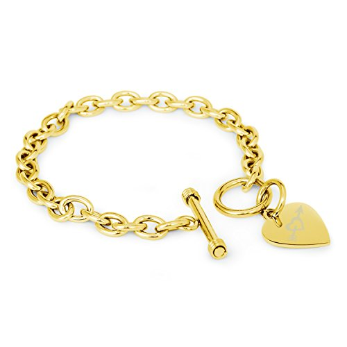 Gold Plated Stainless Steel Heart & Arrow Engraved Heart Tag Charm Bracelet ()