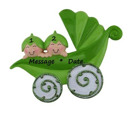 (Peapods Carriage/2 Personalized Ornament)