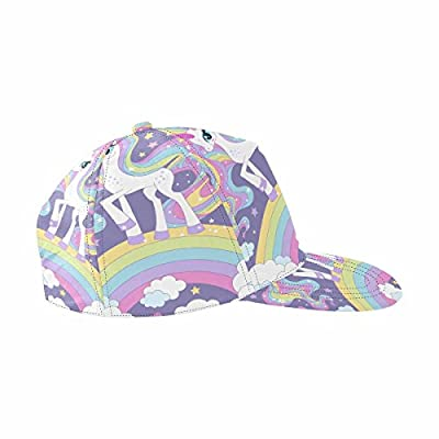 InterestPrint Lovely Cartoon Rainbow Unicorn Baseball Cap Outdoors Flat Snapback Hat