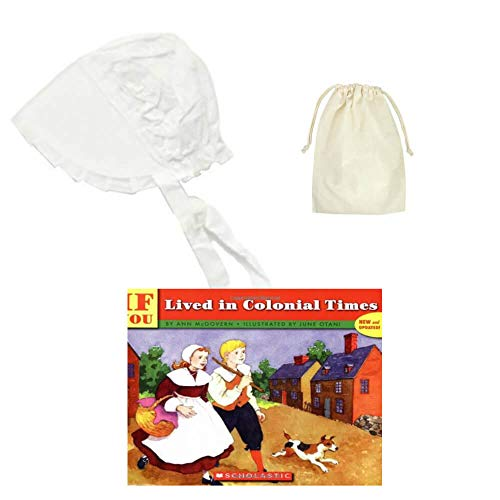 Medium White Childs Thanksgiving Pilgrim Bonnet with Purse and Book ~ Colonial America Costume Set for Kids -