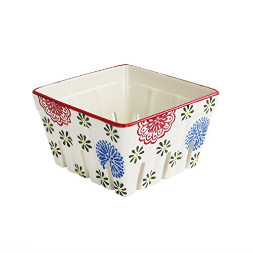American Atelier 1182588 Ceramic Square Large Red/Blue Berry Basket, Multicolor