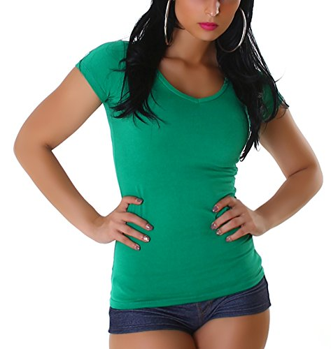 da taglio o Green slim fit V Maglietta donna rotondo a scollo V London Jela Ausschnitt Basic pHFnt1q
