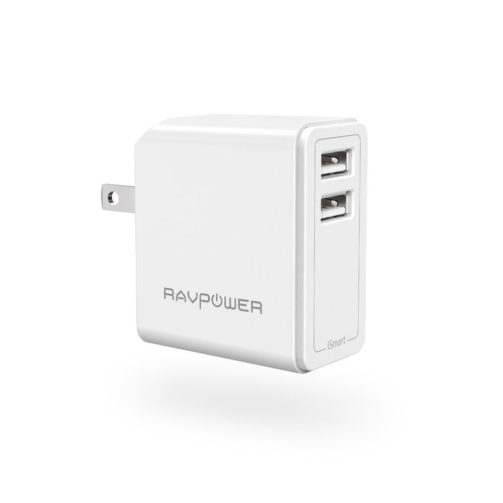 USB Wall Charger RAVPower 24W 4.8A USB Plug, Phone Power Adapter with iSmart Tech, Compatible with iPhone XS X 7 Plus, iPad Pro Air Mini, Galaxy S7 S6 Edge, Tablet, Kindle and More (White) TaoTronics RP-PC019 (W)