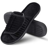 DL Adjustable Open Toe Men Slippers, Memory Foam Slip-on Open Back Slide House Slippers Indoor Outdoor Anti-Slip Rubber…