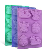 3 Pack Silicone Molds, SENHAI Soap Making Molds Chocolate Trays Cake Baking Pans, with Shape of Snowman Reindeer Sleigh, 6 Cavities - Purple, Blue, Green