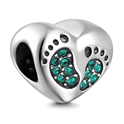 PHOCKSIN Baby Footprint CZ Jan-Dec Birthstone 925 Sterling Silver Love Charms fits Bracelets for Mom Kids (925 Sterling Silver Jan Bead)