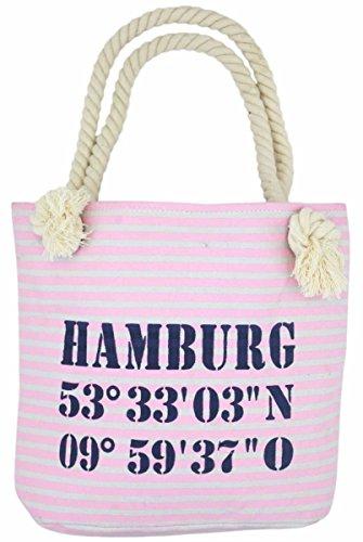 Sonia Originelli XS Shopper Hamburg Shopper Tasche Koordinaten Farbe Rosa-Marine Rosa-Marine EDAEfU