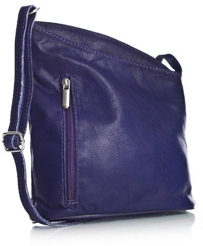 Big Handbag Shop Womens Small Genuine Soft Venenzi Italian Leather Cross Body Bag (V114 Medium Purple)