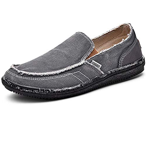LANCROP Men's Slip On Shoes - Casual Lightweight Canvas Deck Boat Loafers Flat 8 M US Grey