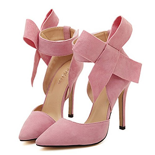 Pink Heels Shoes (YH Pointy Suede High Heel Women's Shoes with Big Bowknot Pink)