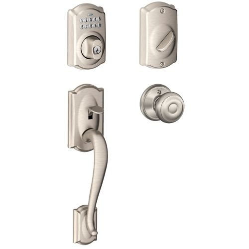 Schlage FE365-CAM-GEO Camelot Electronic Handleset with Georgian Knob, Satin Nickel Camelot Electronic