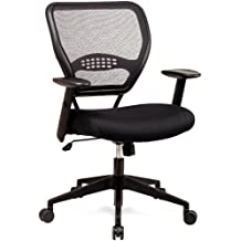 SPACE Seating AirGrid Dark Back and Black Mesh Seat, 2-to-1 Synchro Tilt Control, Adjustable Arms and Tilt Tension with Nylon Base Managers Chair