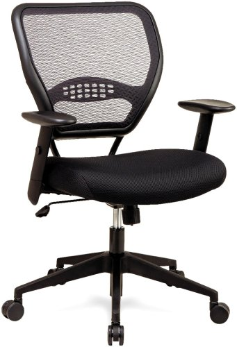 SPACE Seating AirGrid Dark Back and Black Mesh Seat, 2-to-1 Synchro Tilt Control, Adjustable Arms and Tilt Tension with Nylon Base Managers Chair (1 Chair)