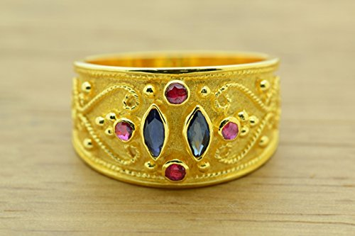 Ring Style Etruscan (Ruby Sapphire Ring Byzantine Style 925 Sterling Silver 22K Gold Plated Greek Handmade Art Ring, Byzantine Rubies Sapphires CZ Ring, 22K Gold Plated Ring, CZ Band Ring, Sterling Silver Ring, Etruscan Style Ring, Byzantine Ring, Greek Jewelry, Luxury Ring, Medieval Ring, Elegant Sterling Silver Ring, Blue Red cubic zirconia Ring)