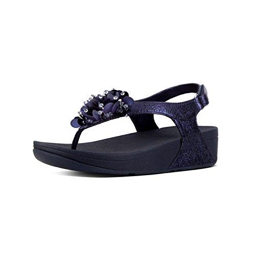FITFLOP Sandals para Tobillo con Boogaloo de Mujer Back Navy Azul Correa Sandalias Strap Midnight 1SnqAx1U