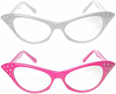 8aff8709c05 Cat Eye Glasses with Rhinestones - 50 s 60 s Retro glasses (2 Pack) (Pink