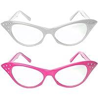 Cat Eye Glasses with Rhinestones - 50's 60's Retro glasses (2 Pack) (Pink & White Cat Eye Glasses)