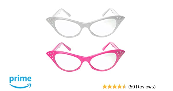 ac11e7c3de Amazon.com  Cat Eye Glasses with Rhinestones - 50 s 60 s Retro glasses (2  Pack) (Pink   White Cat Eye Glasses)  Toys   Games