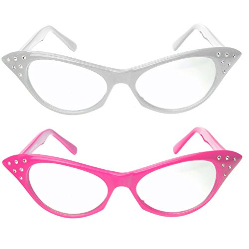 Cat Eye Glasses with Rhinestones - 50's 60's Retro glasses (2 Pack) (Pink & White Cat Eye Glasses)