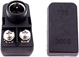 Fancasee (2 Pack) 300 Ohm to 75 Ohm UHF/VHF/FM Matching Transformer  Converter Adapter with F Type Male Coax Coaxial Connector Plug for Cable  Wire