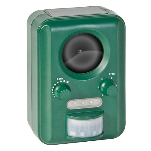 Cat Bird Scarer Adjustable PIR Ultrasonic Solar Powered Dog, Animal, Rodent Repeller