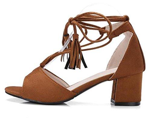 Easemax Womens Stylish Faux Suede Fringes Peep Toe Medium Block Heels Self Tie Gladiator Sandals Brown 49lIOYNLEf