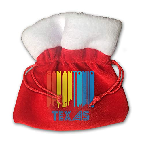 CYINO Personalized Santa Sack,Retro San Antonio Texas Skyline Portable Christmas Drawstring Gift Bag (Red) for $<!--$14.99-->