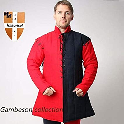 Thick Padded LONG BLACK Gambeson Role Play Movies Theater Custom Medieval Armor
