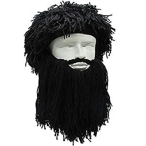 dcf67ad68db73 YEKEYI Knit Beard Hat Adult Viking Fake Hair Wig Visor Knitted Wool Funny  Skull Cap