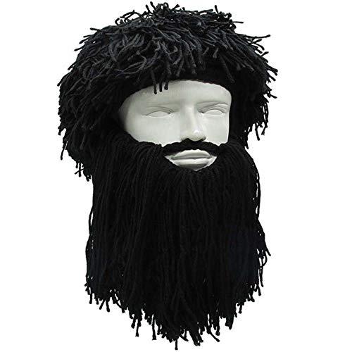 b71289e9233 YEKEYI Knit Beard Hat Adult Viking Fake Hair Wig Visor Knitted Wool Funny  Skull Cap