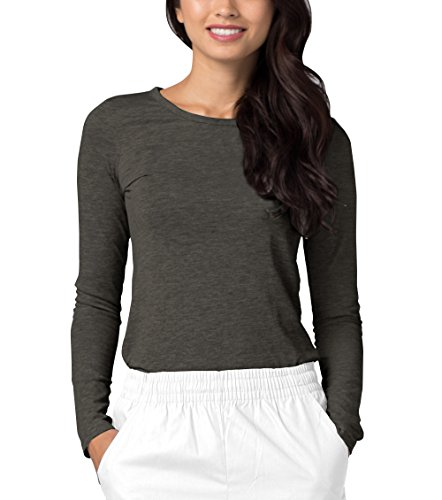 (Adar Womens Comfort Long Sleeve T-Shirt Underscrub Tee - 2900 - Heather Charcoal - XXS)