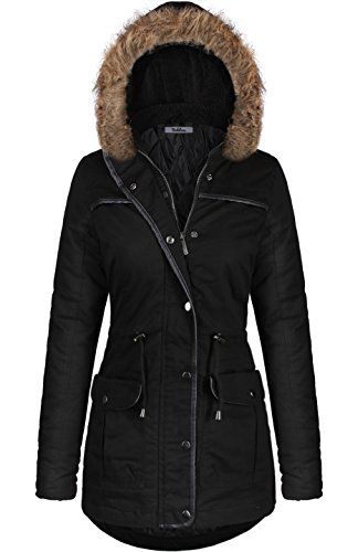 BodiLove Women's Mid Length Down Cotton Puffer Jacket With Faux Fur Trim Hood Black M(JK2973)