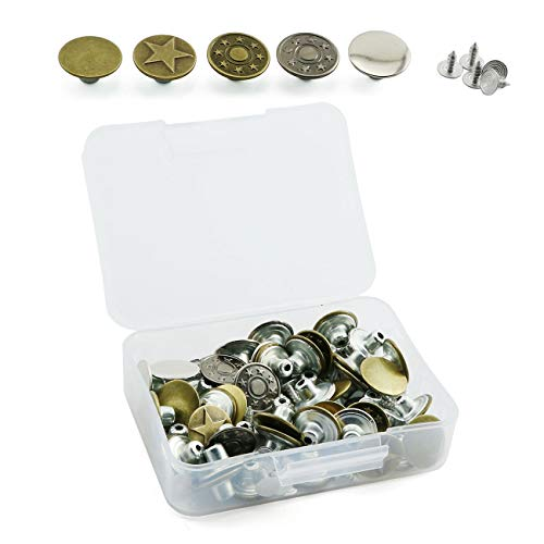 PZRT 50 Sets Dia 17mm Denim Jacket Metal Tack Buttons Jeans, Bib Overalls Retro Tack Buttons of 5 Kinds