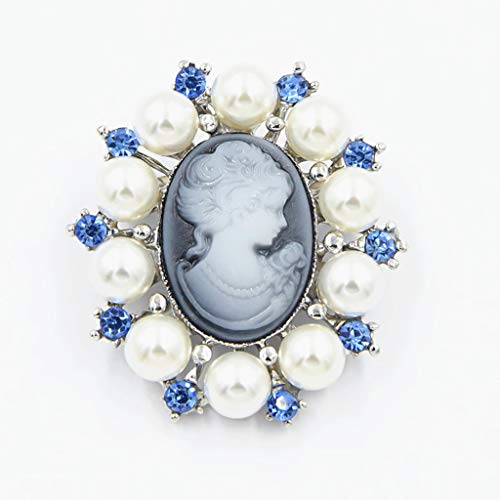 Cicitop Fashion Pearl Lady Vintage Cameo Victorian Style Wedding Party Brooch Pin Fashion Brooch Pin