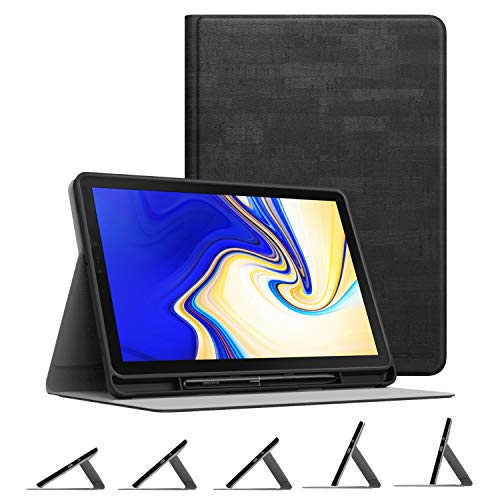 Samsung Galaxy Tab S4 10.5 with S Pen Holder, Multi-Angle Stand Soft TPU Lightweight Cover w/Auto Wake Sleep for Galaxy Tab S4 10.5 Inch 2018 (SM-T830/T835/T837) Tablet,Slate Black ()