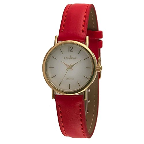 (Peugeot Women's Classic 14K Plated Round Case Everyday Leather Band Dress Watch, Red)