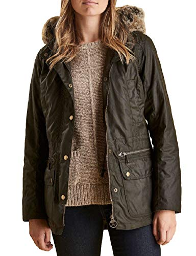 Barbour Women's Kelsall Wax Parka Olive US 6