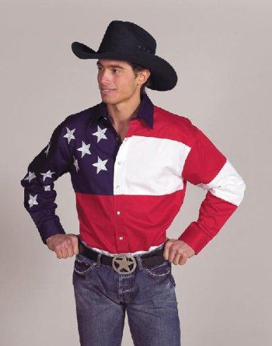 Men's 100% Cotton Stars & Stripes USA Flag Western Shirt - - Usa Outlets Premium