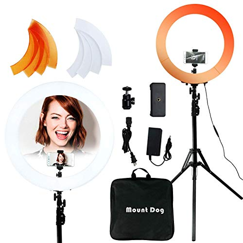 MOUNTDOG 18 Inch Ring Light 48CM 55W 240 Bulbs LED Ringlight Dimmable Round Continuous Circle Lighting Stand Kit Warm/White Color Temperature Camera Mirror YouTube Video Makeup Lighting