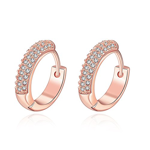 Rose 18k Small (19MM 18K Rose Gold/Yellow Gold Plated Small Cute Cubic Zirconia Hoops Earrings for Women Teen Girls Hypoallergenic CZ Studs For Sensitive Ears (Rose Gold))