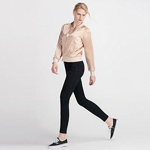 LilySilk Silk Jacket Women Bomber Pure Mulberry 22MM Insanely Comfortable Zipper Long Sleeve Baseball Style Light Camel L/12 by LilySilk (Image #4)