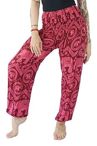 Boho Vib Women's Rayon Elephant Print Boho Harem Yoga Pants (L/XL, Elephant B Burgundy)