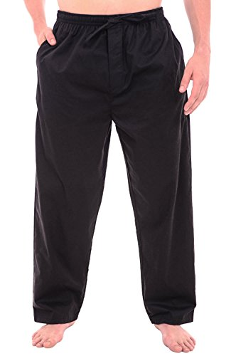 Alexander Del Rossa Mens Woven Cotton Pajama Pants, Long Solid Pjs