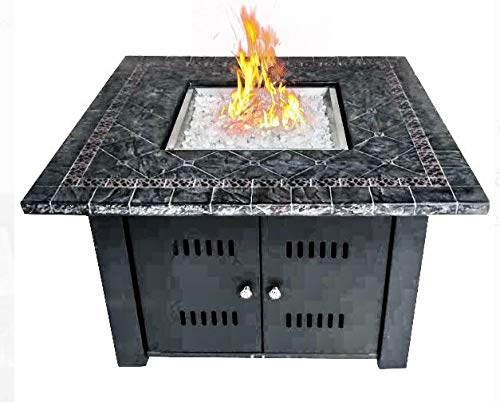 Jar Outdoor- Firepit Table for Outside-Portable Propane Fire Pit-Cozy Fire Ambiance for Nights Spent at Your Patio-Color Black Steel Square Faux Marble Top with Cover Cover ()