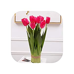 New 12 Heads Potted Tianshan Tulip Indoor Fake Flower Craft Garden Home Living Room Table Tulips for Home Decoration,D 84